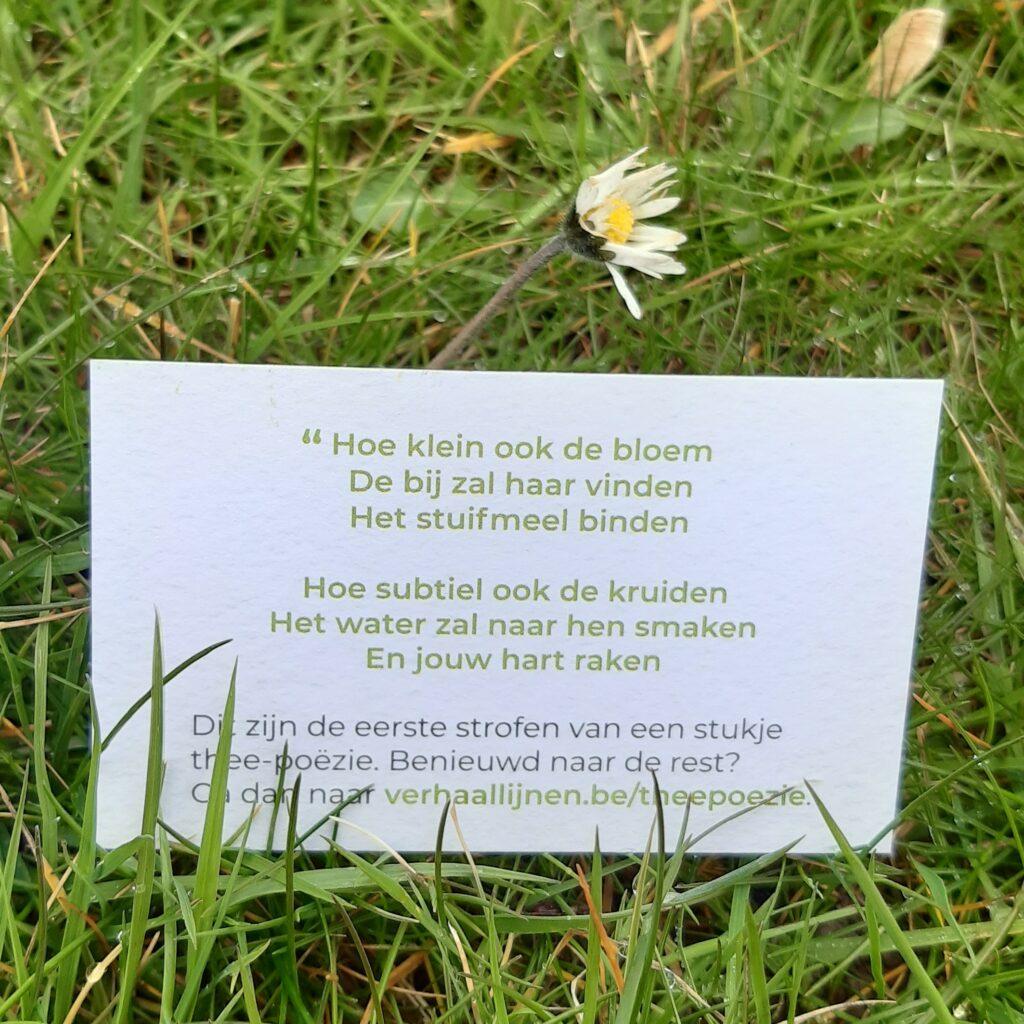 Naamkaartje met twee strofes Thee-poëzie, in het gras.