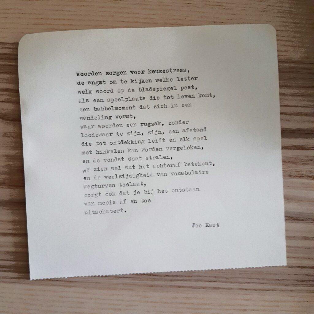 Gedicht voor Bernadet Wehenkel, geschreven door Jee Kast tijdens zijn Typmachinetour.
